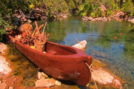 Canoe at Xel-ha in Mexico