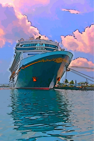 Cruise ship in port in the Bahamas