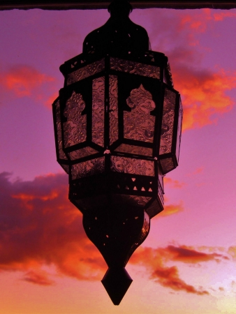 castings: Egyptian lantern with beautiful sunset sky behind it