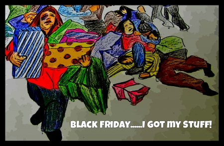 mobs: graphic pencil crayon design I created of shoppers on Black Friday