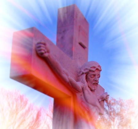 I digitally manipulated a photograph I took of a statue of Jesus to produce this mystical effect of the spirit ascending photo