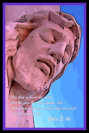 digitals: Photograph of statue of Christ digitally manipulated and text added Stock Photo