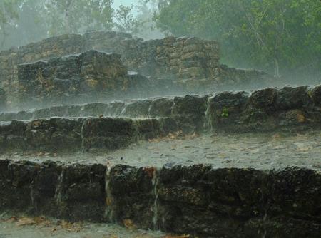 Ruins at Coba, Mexico in the rain