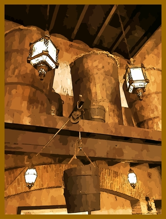 laterns: Photography based digital art of an old western type interior with vintage antique objects and laterns