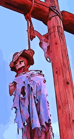 capital punishment: Hanged man old western graphic