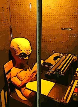 Graphic design of alien at typewriter behind bars Stock Photo