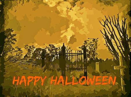 Halloween graphic design depicting cemetary