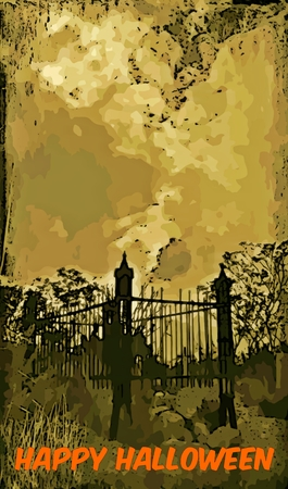 Halloween graphic card depicting cemetary Stock Photo