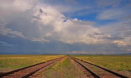 Railroad tracks run to vanishing point on the horizon