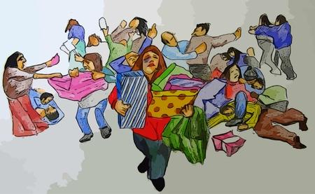 Digital art depicting frantic Black Friday shoppers