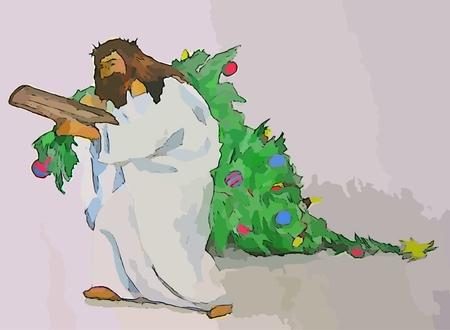 Christ carrying a christmas tree digital graphics