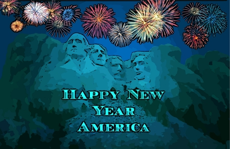 New Year graphic of fireworks over Mount Rushmore