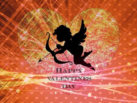 valentine cherub: Valentine Day card design with Text