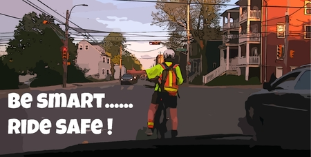 Bicycle safety poster with text photo