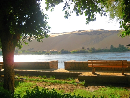 backgraound: Public park on Elephantine Island with desert sands in the backgraound Stock Photo