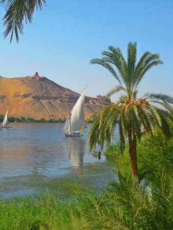 Felucas sailing on the Nile River near Elephantine Island