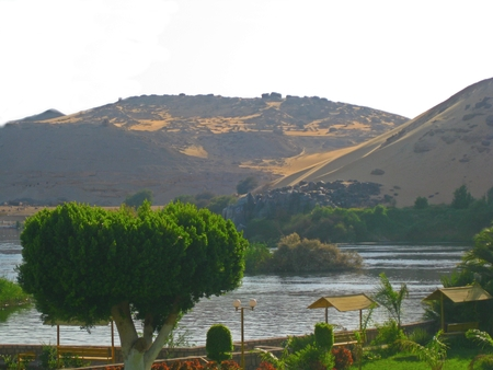 View of desert from Elephantine Island in Egypt