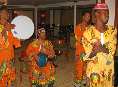 nile river: African musicians entertain guest on Nile River cruise boat
