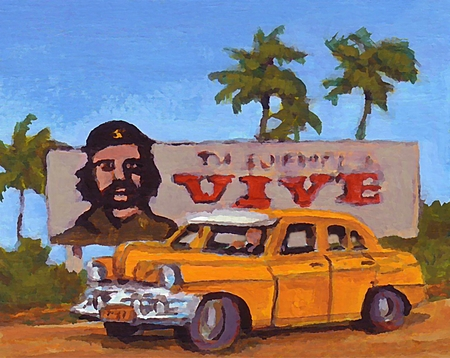 might: Graphic design of old car and political billboard one might find in Cuba