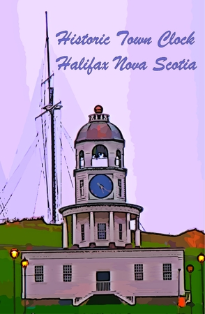 citadel: Graphic design of Halifax Town Clock on Citadel Hill with text