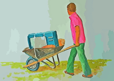 Graphic design of man rolling old TV in a wheel barrel