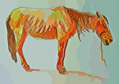 starving: Graphic design of starving horse Stock Photo