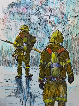 heros: Graphic depiction of fire fighters on the scene of a fire