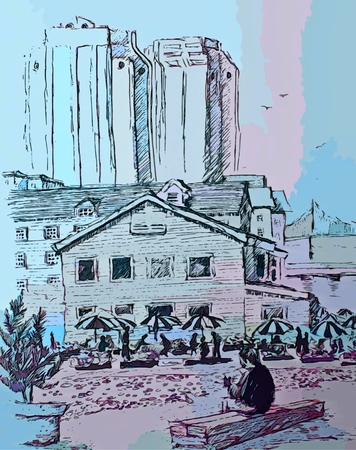 Graphic depiction of artist sketching on the Halifax Nova Scotia waterfront