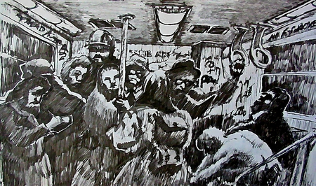 cramped: Digital graphic of cramped subway commuters