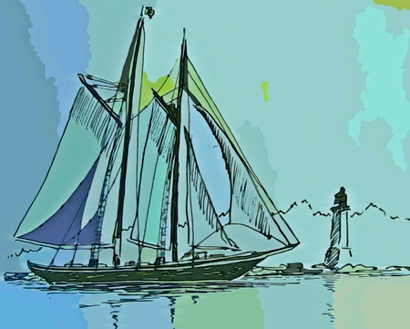 depiction: Graphic depiction of schooner under full sail with lighthouse in the background