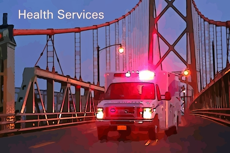 Graphic depiction of ambulance on a bridge with conference health services text