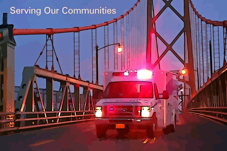 community health care: Graphic depiction of ambulance on a bridge with serving our communities text