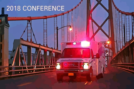 Graphic depiction of ambulance on a bridge with conference text