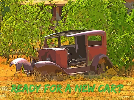 Graphic design of old car with new car text Stock Photo