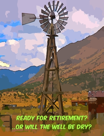 Graphic design of old windmill with retirement text