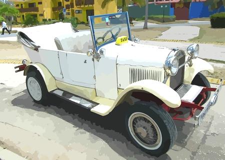 antique car: Graphic design of old antique car. Stock Photo