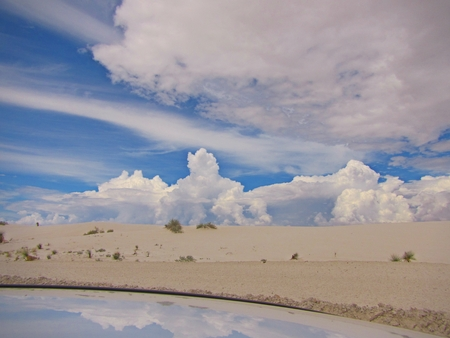 cloud formations: Beautiful cloud formations reflected in water at the deserts edge