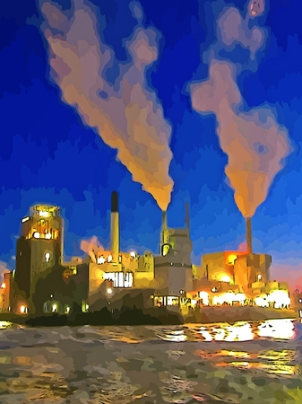billowing: graphic of industrial plant