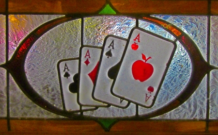 Graphic design of playing card ace with an apple