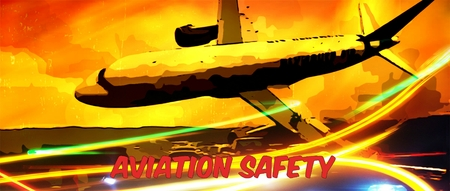 safty: Graphic design of a plane in distress with Aviation Safety text