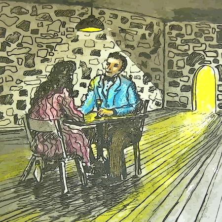 sone: Graphic design of couple having intimate dinner Stock Photo