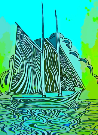 depiction: Graphic depiction of sail boat