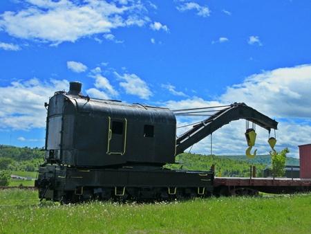 railroads: Old train car crane Stock Photo