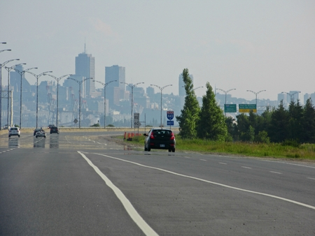 Approaching Quebec City with skyline.