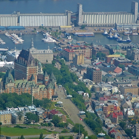 Aerial view of Old Quebec City Editorial