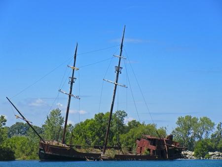 erie: Abandoned shipwreck on Lake Erie Stock Photo