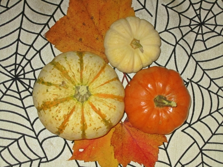 assemblage: Autumn assemblage of harvest vegetables on a halloween backbround Stock Photo