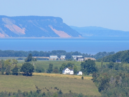 capes: View of Nova Scotias Cape Blomidon as seen from the Annapolis Valley Stock Photo