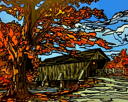 stain glass: Graphic of covered bridge with stain glass effect. Stock Photo