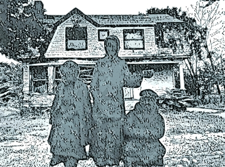 Graphic design of family in poverty during the winter. Stock Photo
